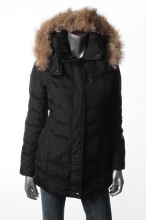 Andrew Marc New Black Quilted Full Zip Hooded Missle Parka Coat