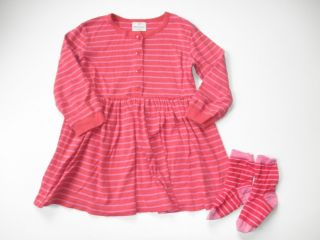 Hanna Andersson Red Pink stripe Playdress Socks Set 110 4 5 5T