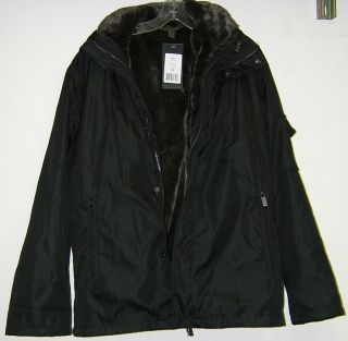 Marc New York Mens Faux Fur Lined Black Coat
