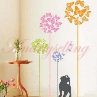 Colorful Butterfly Tree Black Cat Art Vinyl Wall Sticker Decor Mural