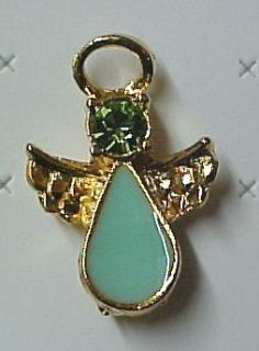 Austrian Crystal Angel Ovarian Cancer Teal Lapel Pin