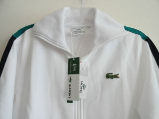 Lacoste Mens Full Zip Track Jacket Andy Roddick White $165