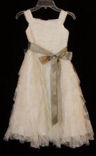 US Angels Flower Girl Dress Style 821 Ivory Size 12