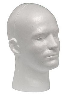 WHITE MALE MANNEQUIN/ MANIKIN STYROFOAM HEADS/ COSTUME DISPLAY