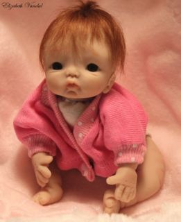 Mini Sculpt OOAK Polymer Clay Baby Girl 5 in Art Doll by Elizabeth