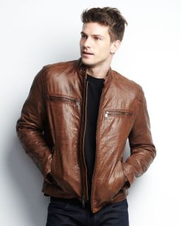 New Marc New York Andrew Marc Decoy Tobacco Brown Leather Jacket