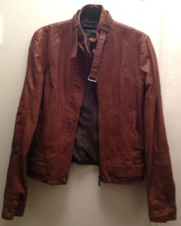 Andrew Marc Brown Leather Jacket Womens Size Small