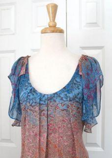 Chic DVF DIANE VON FURSTENBERG Daisy Blue Print Silk Shift Dress Sz
