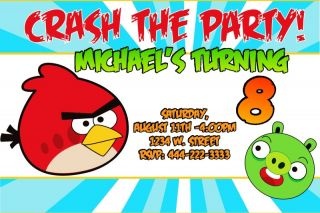 Angry Birds Personalized Custom Birthday Party Invitations