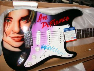Ani DiFranco Autographed Signed Airbrush Guitar &Proof PSA/DNA UACC RD