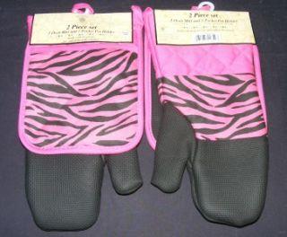 nwt hot pink black zebra oven mitt potholder 2 pc set neoprene cotton