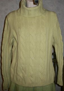 Turtleneck SWEATER CASHMERE Angora Wool Lime Green ANN TAYLOR LOFT L