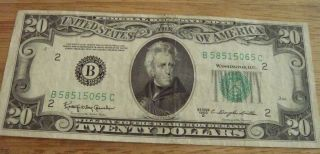 1950 D Andrew Jackson 20 Dollar Bill Federal Note US Currency Small