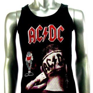 Sz M AC DC Angus Young T Shirt Tank Top Vest Biker Heavy Metal Punk