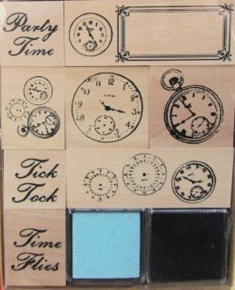 Mounted Rubber Stamps Steampunk Altered Art Time Clocks incl. Inkpads