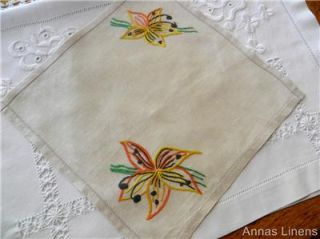 Vintage Linen Table Doily Hand Embroidered Lily Flowers
