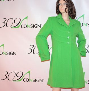 New AK ANNE KLEIN M Bright Kelly Green Wool 3 4 Length Winter Dress