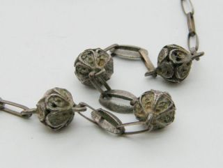 Antique Victorian Edwardian Silver Chain Filigree Ball Necklace