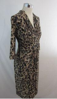 New Jones New York Taupe Brown Multi Leopard Empire Jersey Dress 16W $