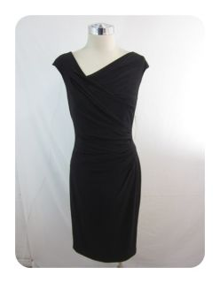 New Ralph Lauren Black Cap Sleeve Asymmetrical V Neck Sheath Dress 8 $