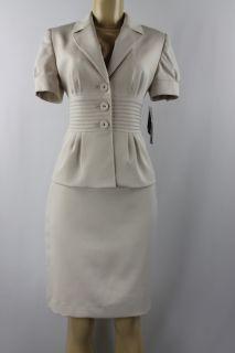 Anne Klein Women Skirt Suit Casa Blanca Skirt Jacket Set Beige Size