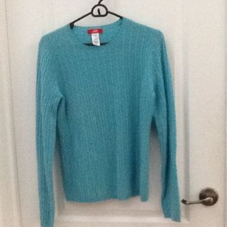 Anne Klein 100% Cashmere Aqua Sweater. Cable Design, Size M.