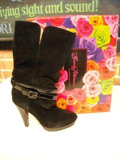 Beverly Feldman Black Suede Faux Shearling Ankle Boot