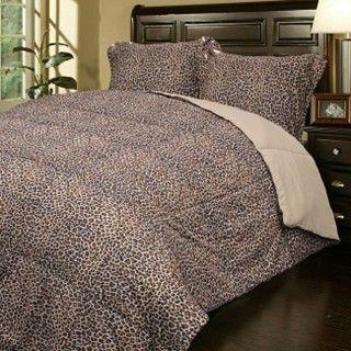 Leopard Print Down Alternative Comforter and Sham Set Super Soft King