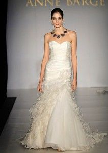 Authentic Anne Barge Blake Light Ivory Silk Organza Couture Bridal