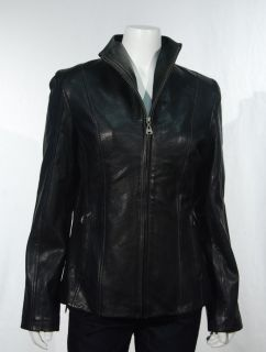 Andrew Marc New York Womens Black Leather Jacket Lambskin Zip Up Large