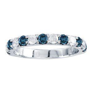 Blue White Diamonds 14k White Gold Wedding Anniversary Ring