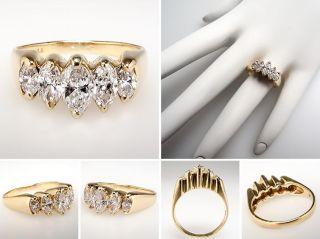 Genuine Marquise Diamond Anniversary Ring Solid 14k Gold Fine Estate