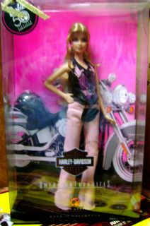 BARBIE TATTOOED BACK 50TH ANNIVERSARY HARLEY DAVIDSON PINK LEATHER