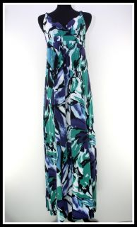 Ann Taylor Size M Watercolor Black Aqua Blue Stretch Jersey Knit Long