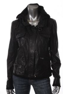 Andrew Marc Kara Black 4 Pocket Hooded Zip Pocket Cargo Jacket Coat L