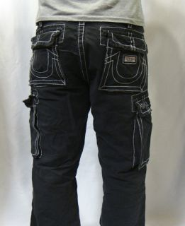 Brand Jeans Mens Big T White Stitch Anthony Cargo Pants Black
