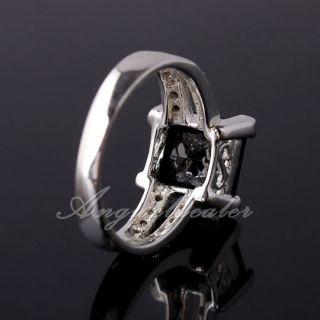 eLuna 5 9ct Princess Cut Black Onyx Lady Silver Ring Clear CZ Embed Sz
