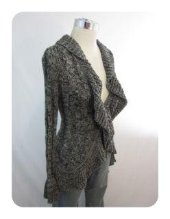 New Inc International Concepts Black Taupe Ruffle Cardigan Sweater
