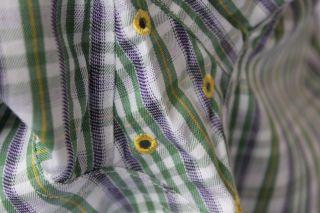 New Mens Ariat L s Dress Shirt White Green Purple Gold Size Large