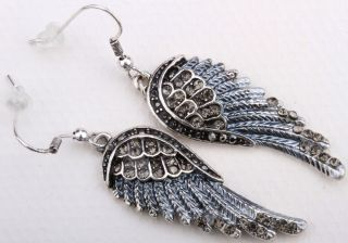 Gray Crystal Angel Wing Earrings EC23 Matching Ring Pin Pendant