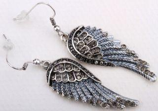 Gray Crystal Angel Wing Earrings EC23 Matching Ring Pin Pendant