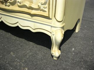 Ornate Vintage Off White French Provincial Style Carved Dresser Buffet