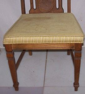 Vintage Bassett Oak Wooden Dining Room Chair w Cushion