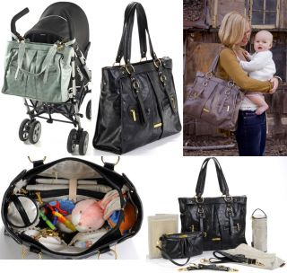 Timi And Leslie Dawn Black Faux Leather Designer Diaper Bag