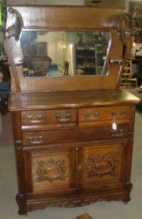 Antique Sideboard Buffet Oak Mirrored Gallery Griffins