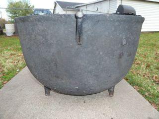 Large Antique Cast Iron Kettle Cauldron Camp Pot