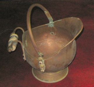 Antique Copper Porcelain Brass Miniature Ash Coal Bucket Marked Made