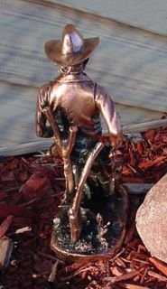 10 Tall Western Cowboy 1 Antique Copper Metal Finish Figurine Statue