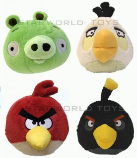 Angry Birds Collectible Plush 4 Pack Red White Black and Green Pig New