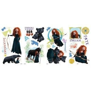24 Wall Decals PRINCESS MERIDA Room Decor ANGUS Vinyl Bear Stickers